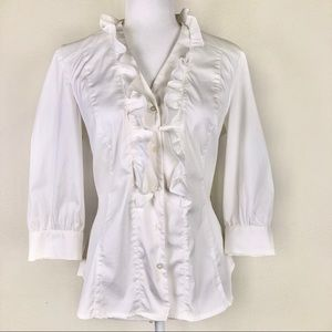 Alfani White Ruffled 3/4 Sleeves Blouse Size 12P